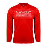 College Performance Red Longsleeve Shirt-Hunter College