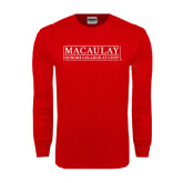 College Red Long Sleeve T Shirt-Official Logo