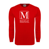 College Red Long Sleeve T Shirt-Lettered Macaulay Honors