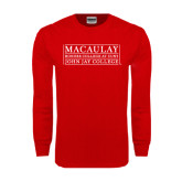 College Red Long Sleeve T Shirt-John Jay College