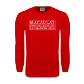 College Red Long Sleeve T Shirt-Lehman College