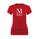 Ladies Syntrel Performance Red Tee-Lettered Macaulay Honors