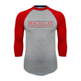 College Grey/Red Raglan Baseball T Shirt-Official Logo