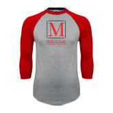 College Grey/Red Raglan Baseball T Shirt-Lettered Macaulay Honors