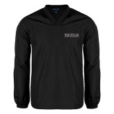College V Neck Black Raglan Windshirt-Official Logo