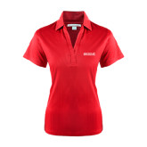 College Ladies Red Performance Fine Jacquard Polo-Official Logo