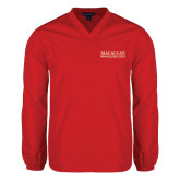 College V Neck Red Raglan Windshirt-Official Logo
