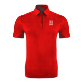 College Red Horizontal Textured Polo-Lettered Macaulay Honors