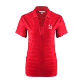 College Ladies Red Horizontal Textured Polo-Lettered Macaulay Honors