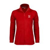 Ladies Fleece Full Zip Red Jacket-Lettered Macaulay Honors