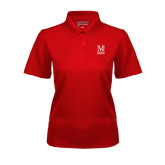 College Ladies Red Dry Mesh Polo-Lettered Macaulay Honors