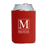 College Neoprene Red Can Holder-Lettered Macaulay Honors