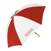 College 62 Inch Red/White Vented Umbrella-Official Logo