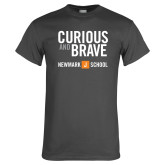 Charcoal T Shirt-Curious and Brave with Short Logo