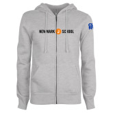 ENZA Ladies Grey Fleece Full Zip Hoodie-Short Logo Circle