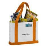Contender White/Orange Canvas Tote-Black and Gray Primary Logo