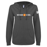 ENZA Ladies Dark Heather V Notch Raw Edge Fleece Hoodie-Short Logo Circle