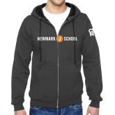 Charcoal Fleece Full Zip Hoodie-Short Logo Circle