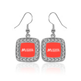 Crystal Studded Square Pendant Silver Dangle Earrings-SLU Murphy Stacked