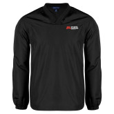 V Neck Black Raglan Windshirt-SLU Murphy Stacked