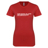 Next Level Ladies SoftStyle Junior Fitted Red Tee-SLU Logotype