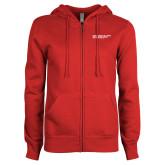 ENZA Ladies Red Fleece Full Zip Hoodie-SLU Logotype