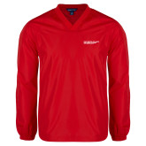 V Neck Red Raglan Windshirt-SLU Logotype