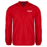 V Neck Red Raglan Windshirt-SLU Murphy Stacked