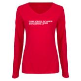 Ladies Red Long Sleeve V Neck Tee-SLU Logotype