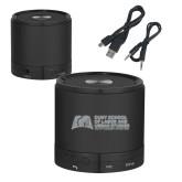 Wireless HD Bluetooth Black Round Speaker-SLU Murphy Stacked Engraved