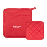 Quilted Canvas Red Pot Holder-SLU Logotype