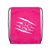 Pink Drawstring Backpack-Primary Athletics Mark
