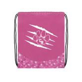 Nylon Pink Bubble Patterned Drawstring Backpack-Primary Athletics Mark