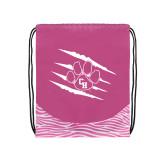 Nylon Zebra Pink/White Patterned Drawstring Backpack-Primary Athletics Mark