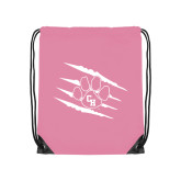 Light Pink Drawstring Backpack-Primary Athletics Mark