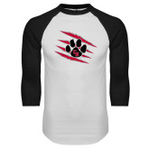 White/Black Raglan Baseball T Shirt-Primary Athletics Mark