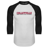 White/Black Raglan Baseball T Shirt-Wordmark