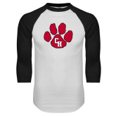 White/Black Raglan Baseball T Shirt-Paw