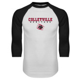 White/Black Raglan Baseball T Shirt-Colleyville Heritage Stacked