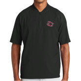 New Era Black Cage Short Sleeve 1/4 Zip-Primary Athletics Mark