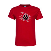 Youth Red T Shirt-Primary Athletics Mark