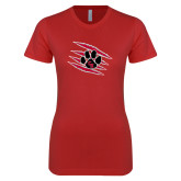 Next Level Ladies SoftStyle Junior Fitted Red Tee-Primary Athletics Mark