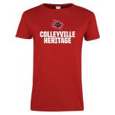 Ladies Red T Shirt-Colleyville Heritage Block