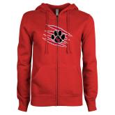 ENZA Ladies Red Fleece Full Zip Hoodie-Primary Athletics Mark