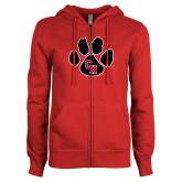 ENZA Ladies Red Fleece Full Zip Hoodie-Paw