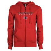 ENZA Ladies Red Fleece Full Zip Hoodie-Colleyville Heritage Stacked