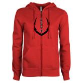 ENZA Ladies Red Fleece Full Zip Hoodie-Focus Football