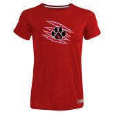 Ladies Russell Red Essential T Shirt-Primary Athletics Mark
