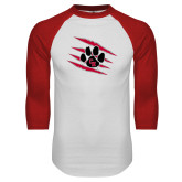 White/Red Raglan Baseball T Shirt-Primary Athletics Mark