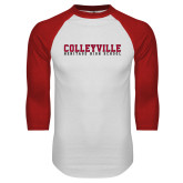 White/Red Raglan Baseball T Shirt-Wordmark
